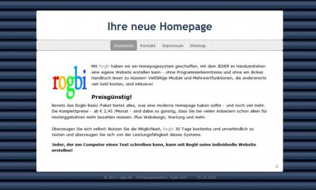 Harmonie Blue Jalousie, Menü Mitte (Screenshot)